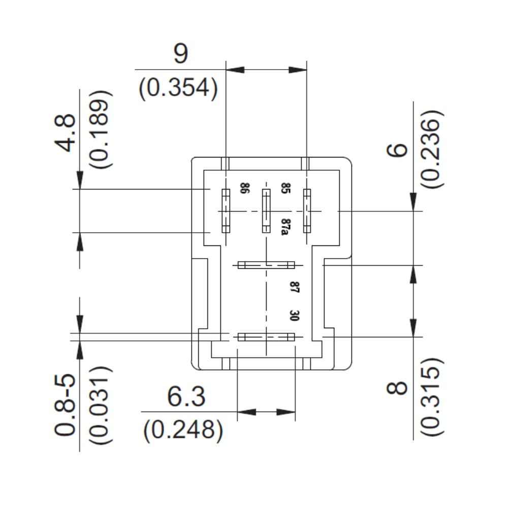 871A Automotive 35A 3 Pin (Single HV and LV Common) plug in ISO Micro Relay
